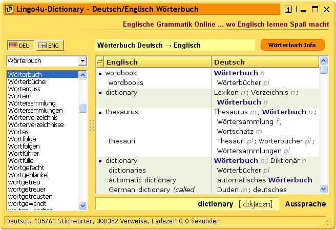 Lingo4u dictionary v1 0 5 build 232 winfuture for Dictionary englisch deutsch